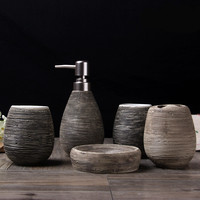 Ceramic bathroom with five sets bathroom accessories Bathroom toiletries Emulsion bottle toothbrush holder soap dish