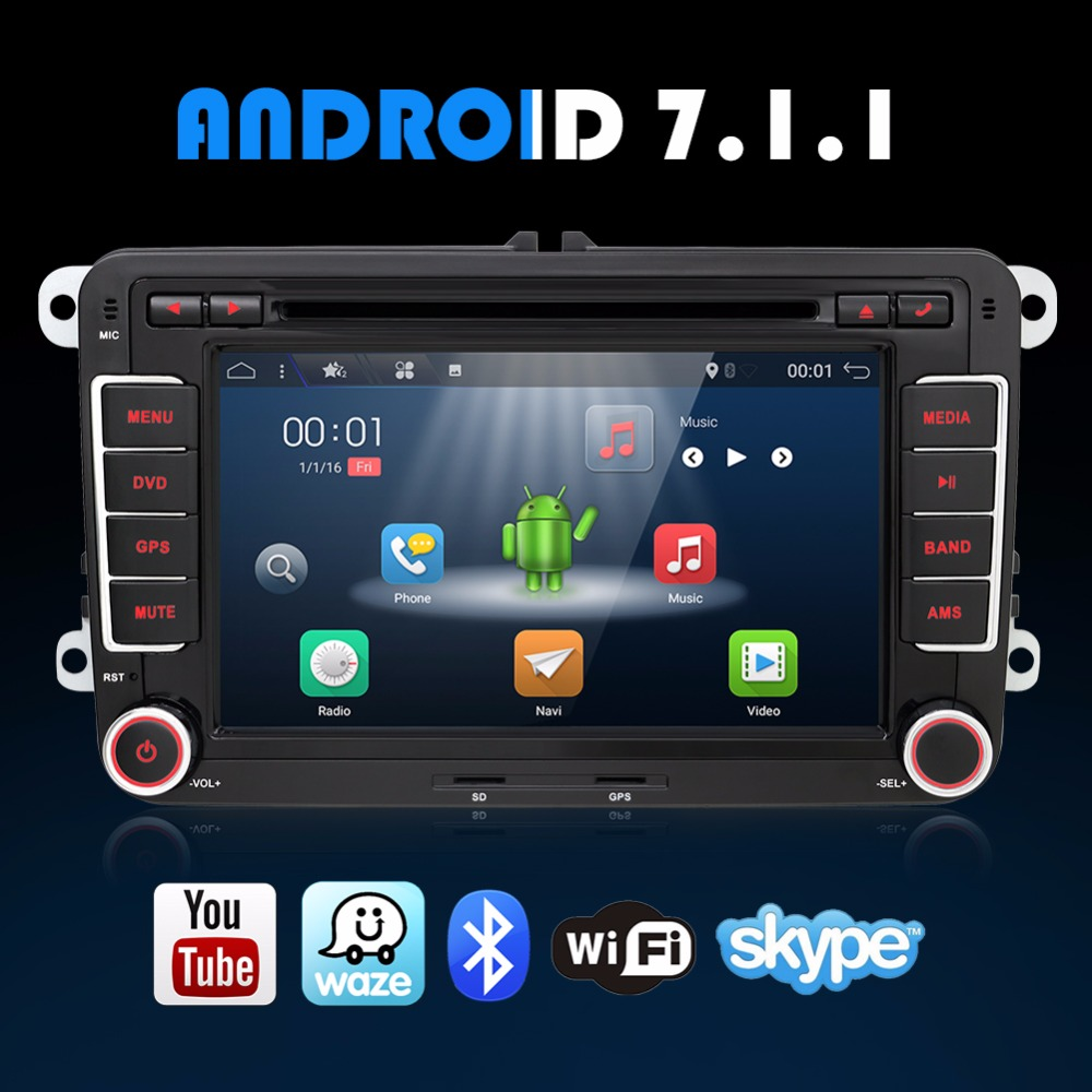 Quad Core Android 7 1 2Din 7 Inch Car DVD Player For VW GOLF 5 6