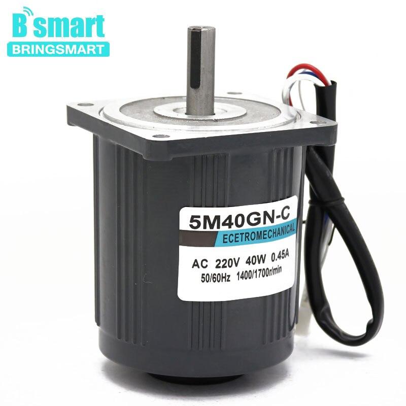 Bringsmart 5M40GN CC 220V AC Motor 1400rpm 2800rpm High Speed Motor 40W Mini Electric Machine Reversible