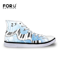 FORUDESIGNS Musical Note Women High Top Vulcanize Shoes Spring Brand Designer Women S Sneakers Canvas Flats