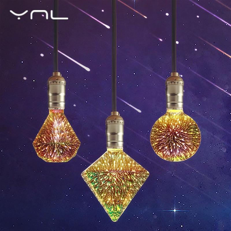 LED Lamp 3D Colourful Fireworks Edison Bulb E27 Led Bulb 220V Star Heart Diamond Christmas Decor Wedding Decoration