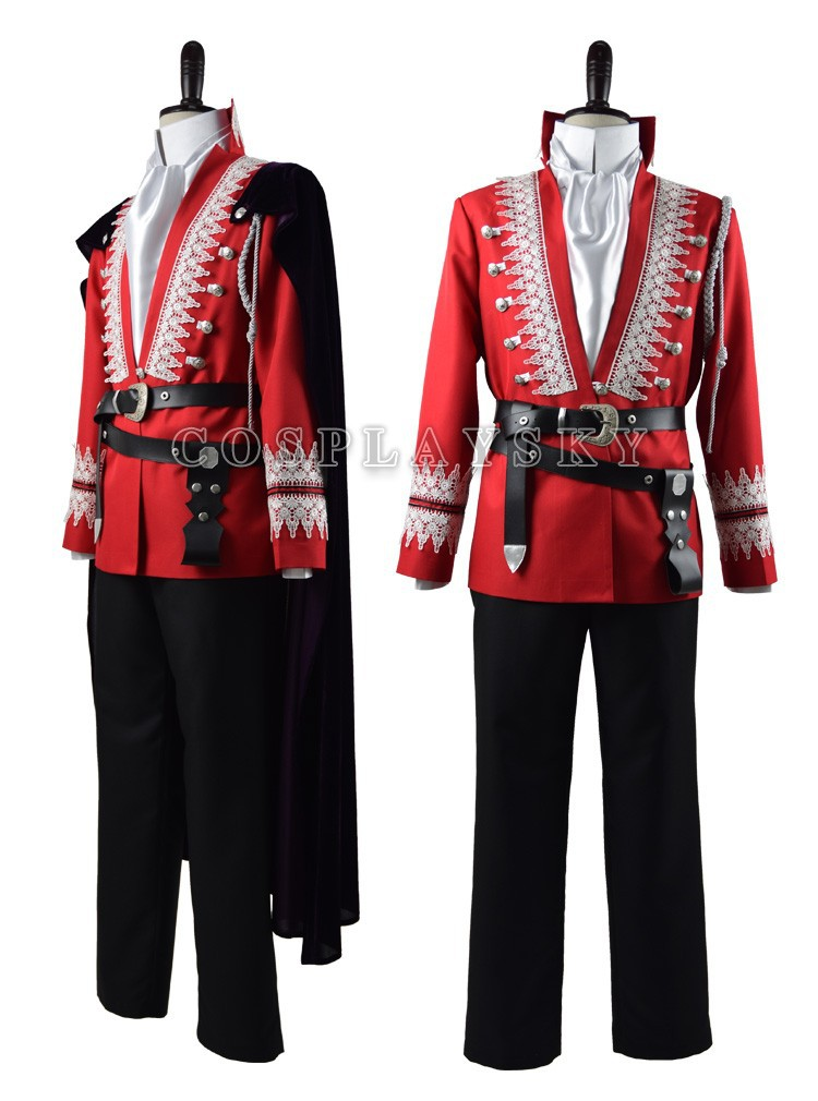 Once Upon a Time Prince Charming Red Uniform Outfit With Cloak Cosplay Costume_02