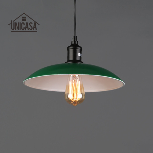 Modern Pendant Lights Green Shade Wrought Iron Lighting Fixtures Kitchen Island Office Hotel Antique Mini