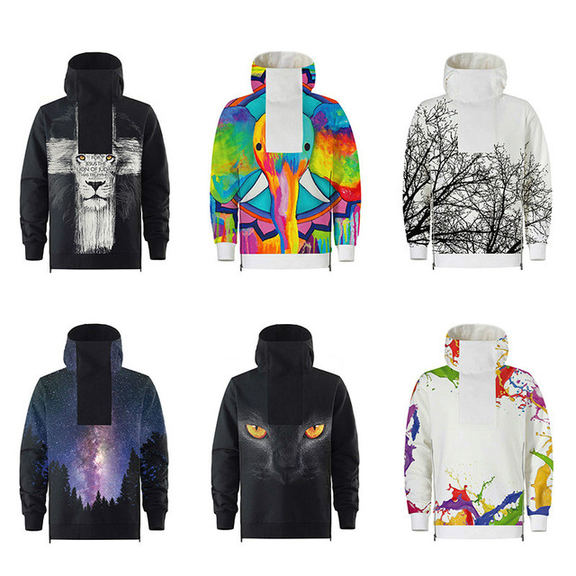 b5e16118b 2018 Autumn Women Men 3D Hoodies Lion Cat Galaxy Tree Color Paint ...