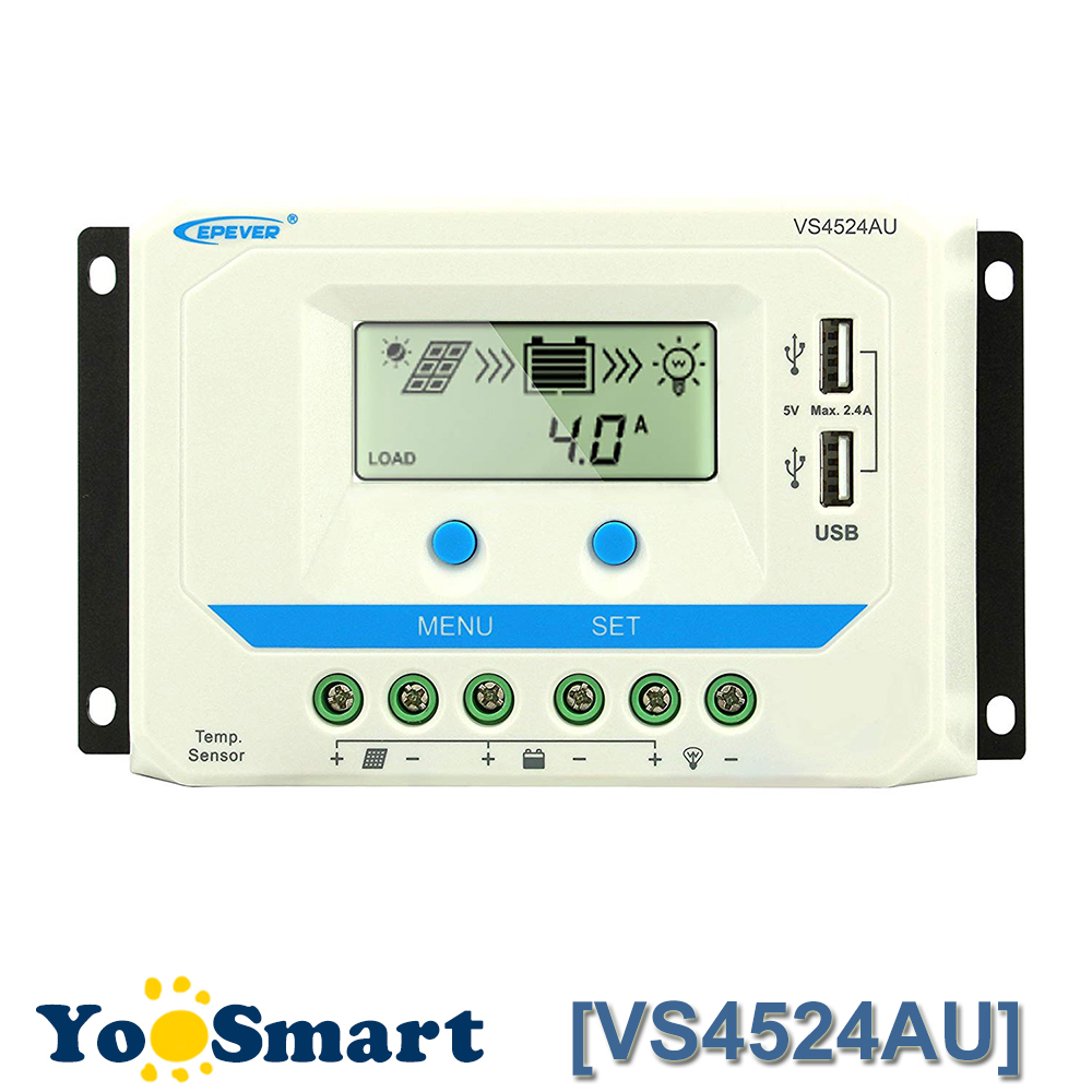 EPEVER VS4524AU 45A Solar Charge Controller 12V/24V Auto LCD Display Dual USB Output For Lead Acid AGM Sealed Gel Flood BatteryEPEVER VS4524AU 45A Solar Charge Controller 12V/24V Auto LCD Display Dual USB Output For Lead Acid AGM Sealed Gel Flood Battery