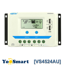 EPEVER VS4524AU 45A Solar Charge Controller 12V/24V Auto LCD Display Dual USB Output For Lead Acid AGM Sealed Gel Flood Battery autool bt 460 battery tester lead acid agm gel battery cell analyzer for 12v vehicle 24v heavy duty 4 tft colorful display