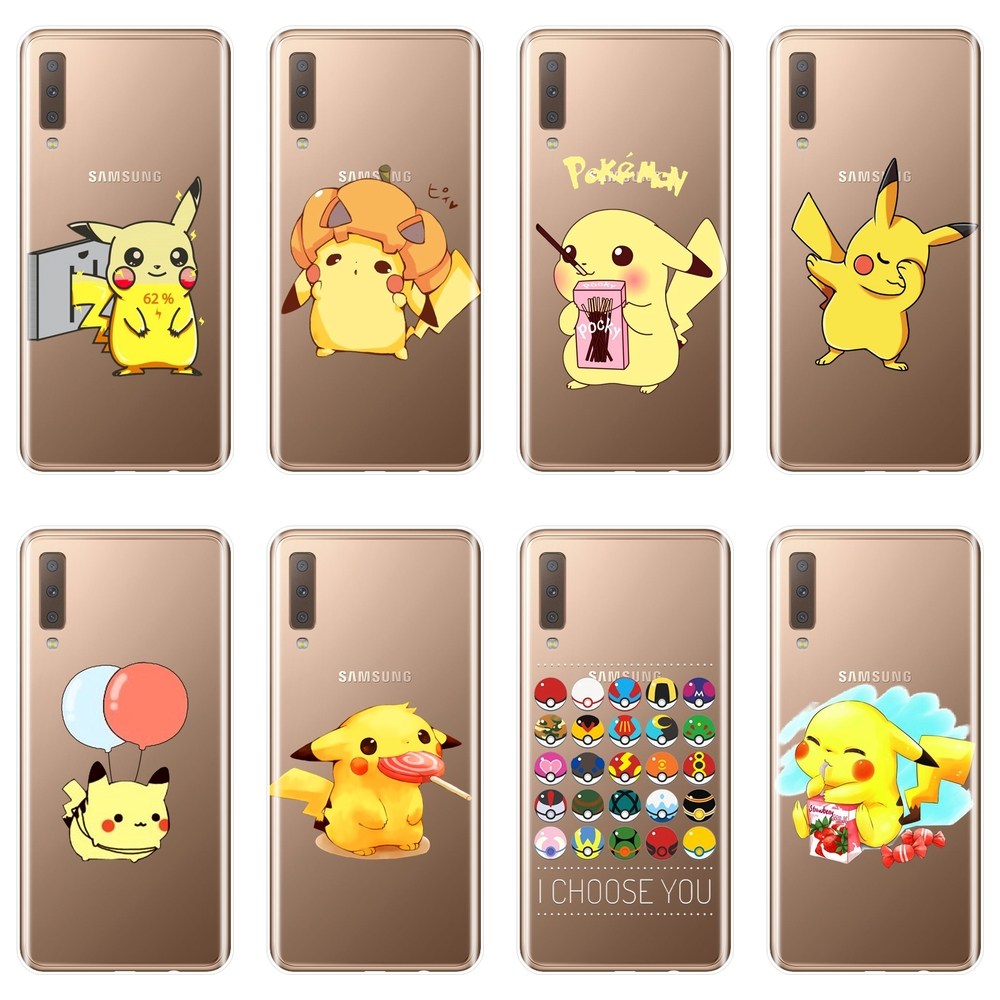 Pokemon Back Cover For Samsung Galaxy A3 A5 2016 2017 A6 A7 A8 2018 Soft Silicone Phone Case For Samsung Galaxy A6 A8 Plus 2018 image
