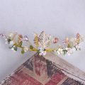 Gold Handmade Beaded Flower Wedding Tiara Hair Jewelry Bridal Crown Accessories Women Headband