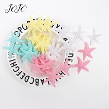 JOJO BOWS 40pcs Glitter Patches Solid Starfish Embossed Accessory For Needlework Apparel Sewing Patchwork Textile Decoration