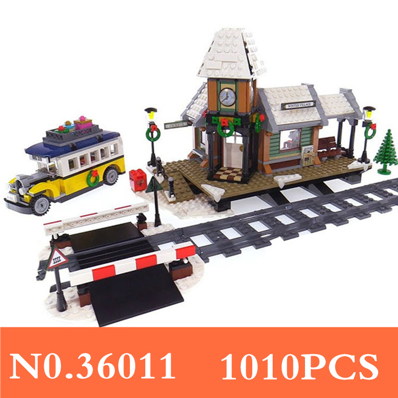 1010Pcs Winter Village Train Station Model Building Block Toys Educational Figure Gift For Children Compatible With 10259 B189 decool 3114 city creator 3in1 vehicle transporter building block 264pcs diy educational toys for children compatible legoe