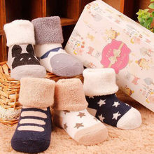 Winter Warm Baby Girls Boy Socks Kids Infant Toddler Anti-Slip Knitted Warm Newborn Socks Meias Para Bebe Calcetines Wholesale(China)