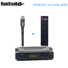 5pcs Freesat V7 With 1 pcs WIFI DVB-S2 HD satellite TV receiver Youtube Power VU CCcam Newcamd Free Shipping Not Support IPTV