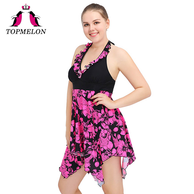 Topmelon Swimwear One Piece Swimsuit Women Push Up Plus Size Sexy Beachwear Bathing Suit One Piece Women Swimwear Dress Plus 6XL 2017 new women s plus size swimsuit sexy print one piece swimwear girls summer large size bathing suit beachwear 5xl 9xl