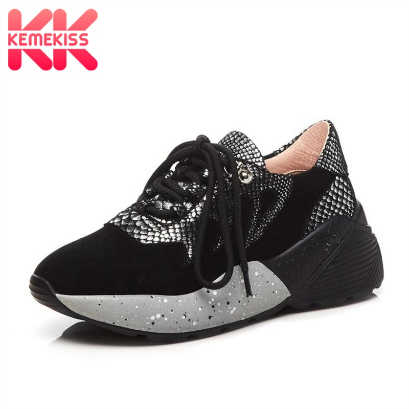 KemeKiss Women Sneaker Real Leather Patchwork Snake Pattern Casual Wedges Shoes Women Strap Vulcanized Walk Shoes