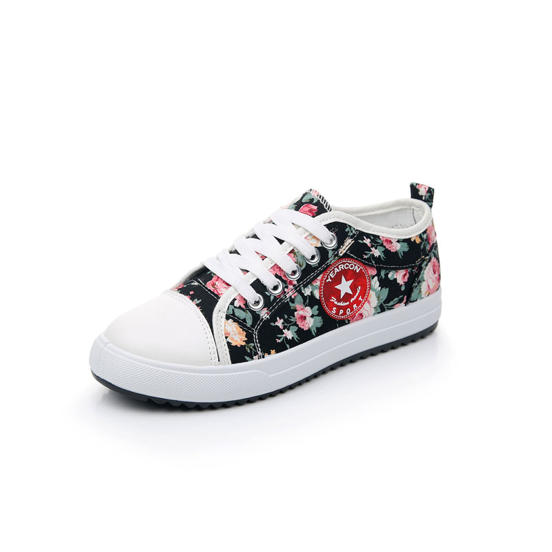 Big Children Girls Canvas Shoes Junior High School Students Sports Shoes Floral Canvas Shoes Size 30 To Size 40