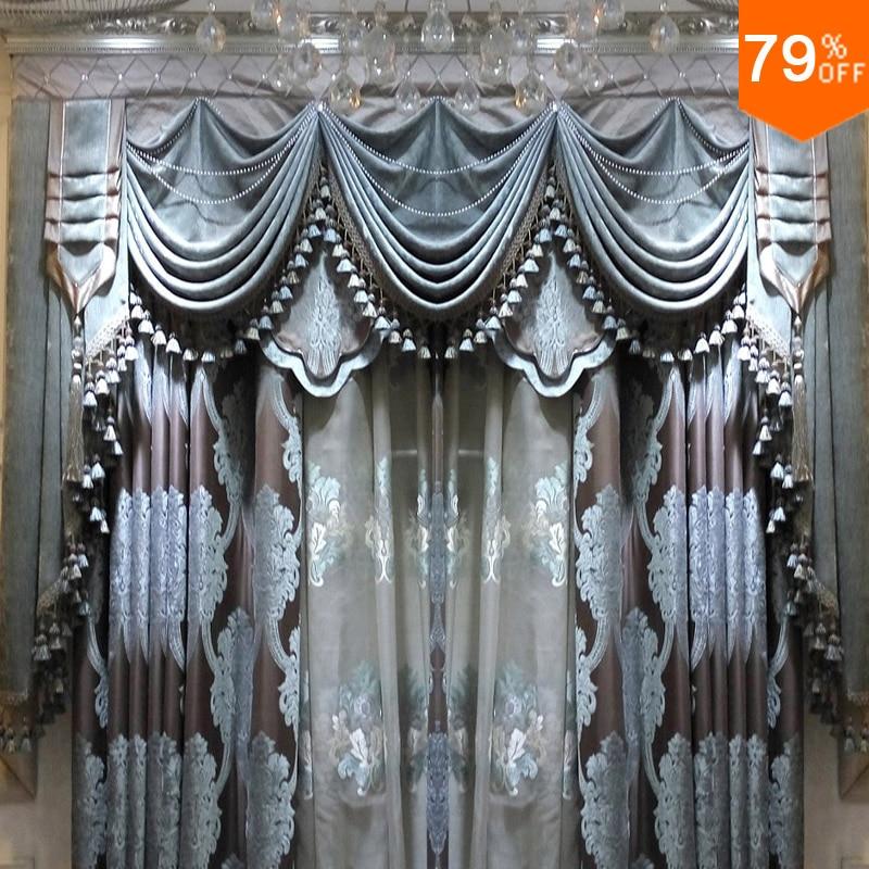 2 ~ 2.5 미터 창 회색 하늘색 꽃 바구니 거실 커튼 중공 커튼 정전 침실