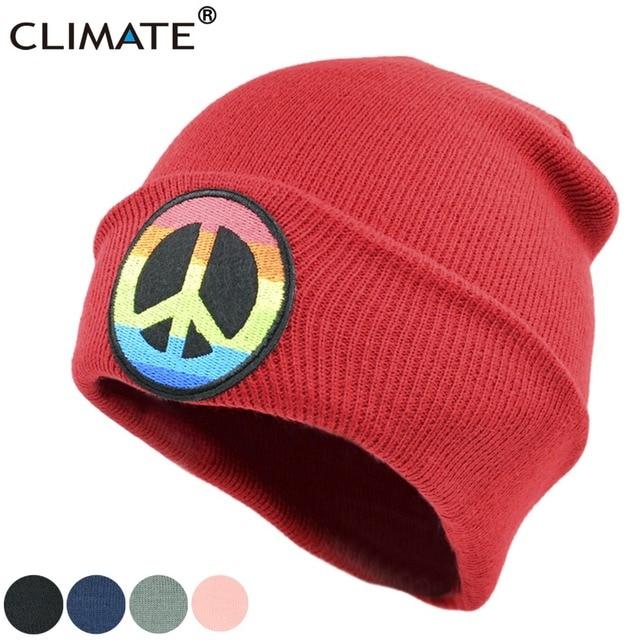 CLIMATE Men Women Winter Warm Beanie Hat Rainbow Peace Flags Soft Knitted  Hats Pacifist Love Winter Hat For Women Men Girls f199423baaa