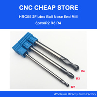3pcs R2 R3 R4 HRC55 Tungsten Solid Carbide 2F BALL NOSE End Mill For CNC Milling
