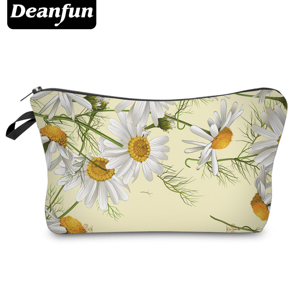 Deanfun 3D Printing Cosmetic Bags Daisy Storage For Toiletry Organizer Necessary Travel Women Polyster 2017 Hot Sale 50774