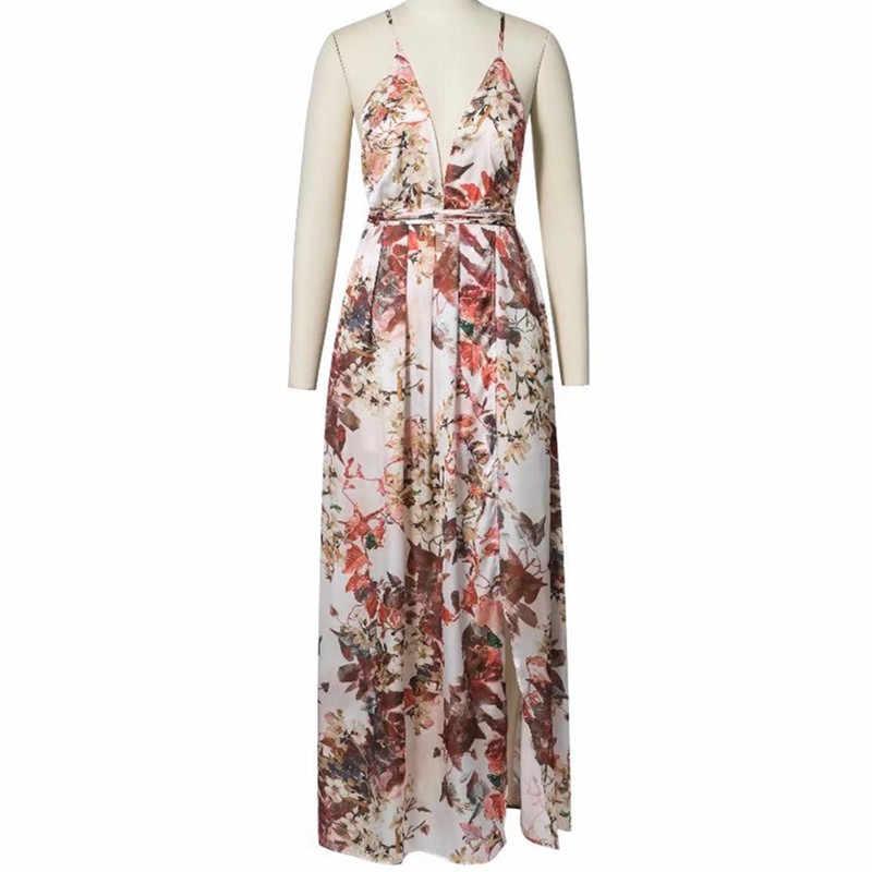 96217d31343b1 Lemon Gina Floral Print Spaghetti Strap Deep V-neck Wrap Summer Dress  Elegant Women High Split Bohemian Beach Dresses Vestidos