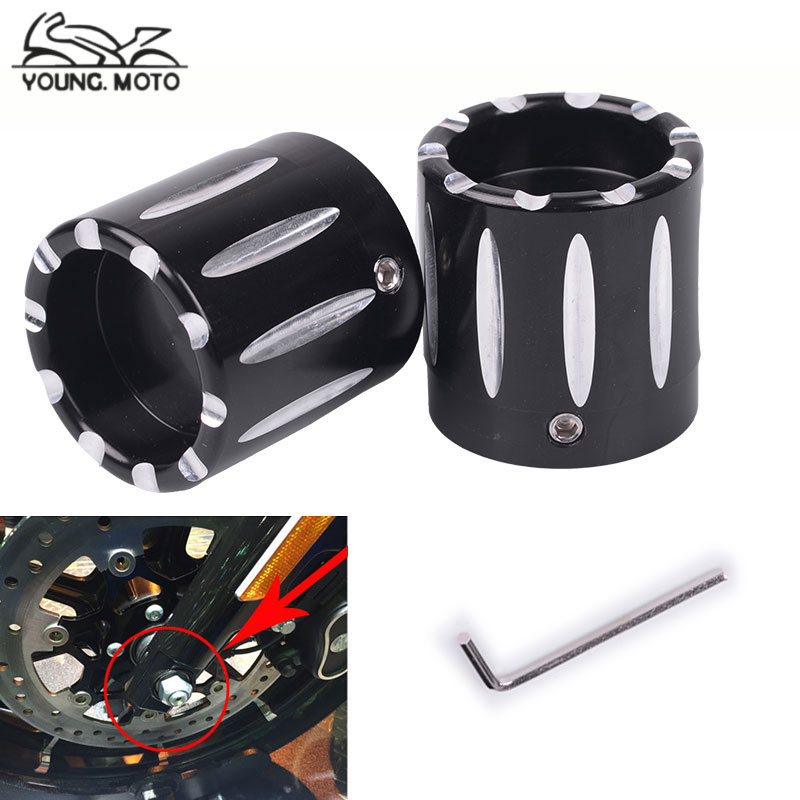 2pcs Front Axle Cover Cap CNC Aluminum RC Nut Rough Crafts Rear Axle Nut Covers Bolt Kit For Harley Davidson VRSC XG XL