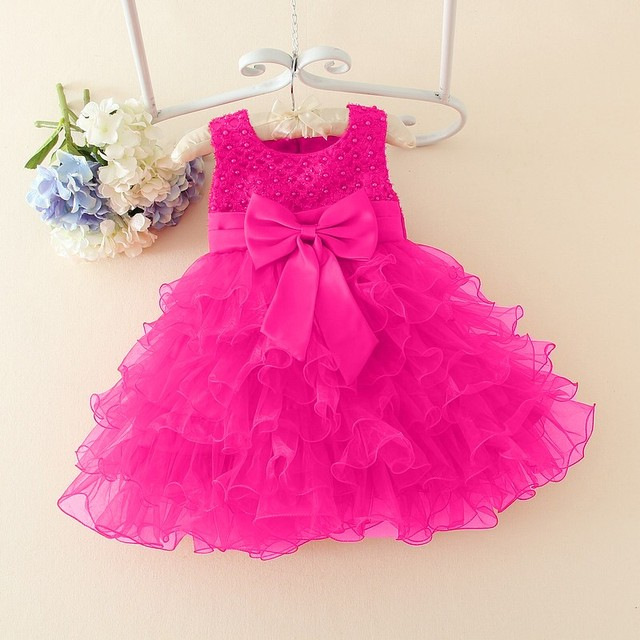 Hot Lace flower girls wedding dress baby girls christening cake dresses