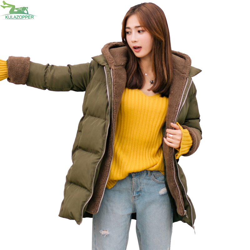 Parka Women Winter Jackert 2017 New Female Lambwool Coat Fashion Thick Warm Hooded Patchwork Outwear For Lady Clothes QW658 2017 winter new fashion hooded velvet thick coat casaco feminino warm casual vintage female jacket parka coat lady outwear coats
