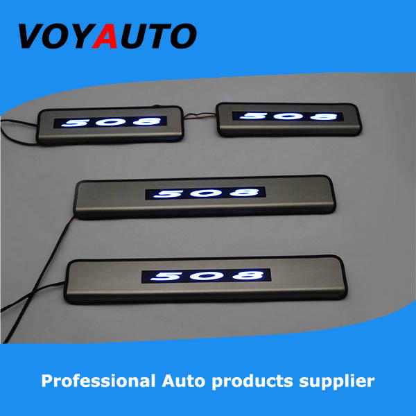 Stainless Steel PEUGEOT 508 LED Scuff Plate,Led Door Sill Plate, Led - VOYAUTO CO.,LTD store