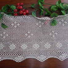 Handmade Crocheted hook flowers cotton lace hollow Table Runner / Many Uses Curtains / Korean Style