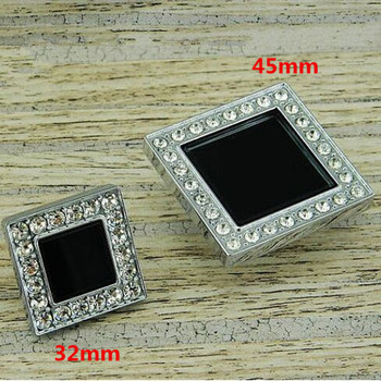 Fashion deluxe square black glass crystal drawer cabinet knobs pulls rhinestone K9 crystal silver dresser cupboard door handles