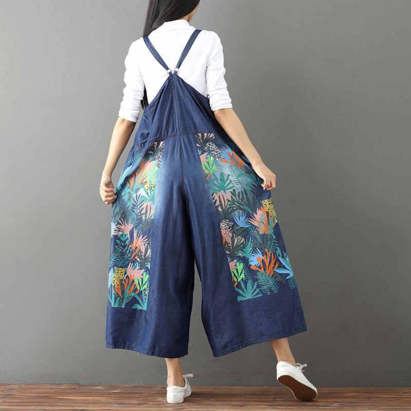 2018 Весна Новый женский винтажный потертый цветочный принт широкие брюки синий джинсовый комбинезон Комбинезоны женские Свободные Комбинезоны