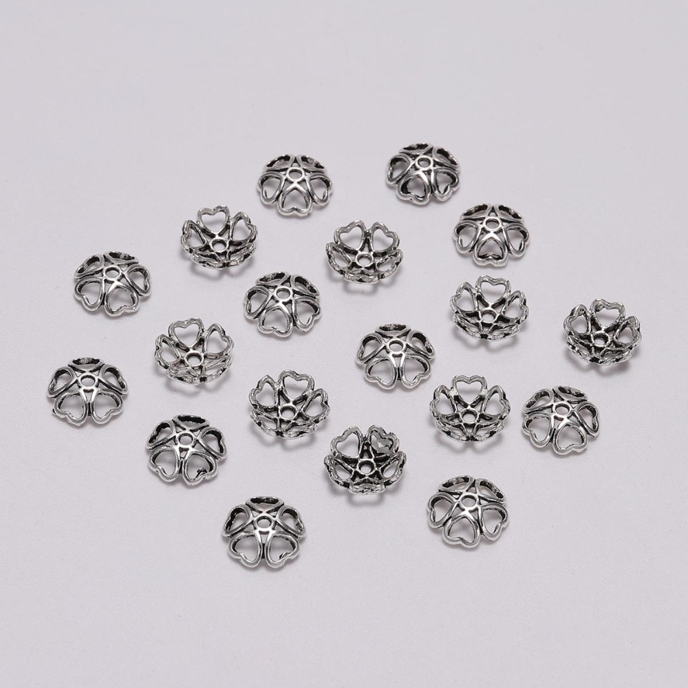 50pcs/Lot Silver Peach Heart Beads Caps Silver Hollow Flower Loose Sparer Apart End Bead Caps For DIY Jewelry Making Findingds