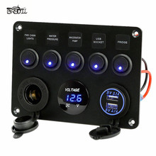 Inline Fuse Box 5 Gang LED Rocker Switch Panel Voltmeter Dual USB Socket Charger On - Off Boat Marine Truck