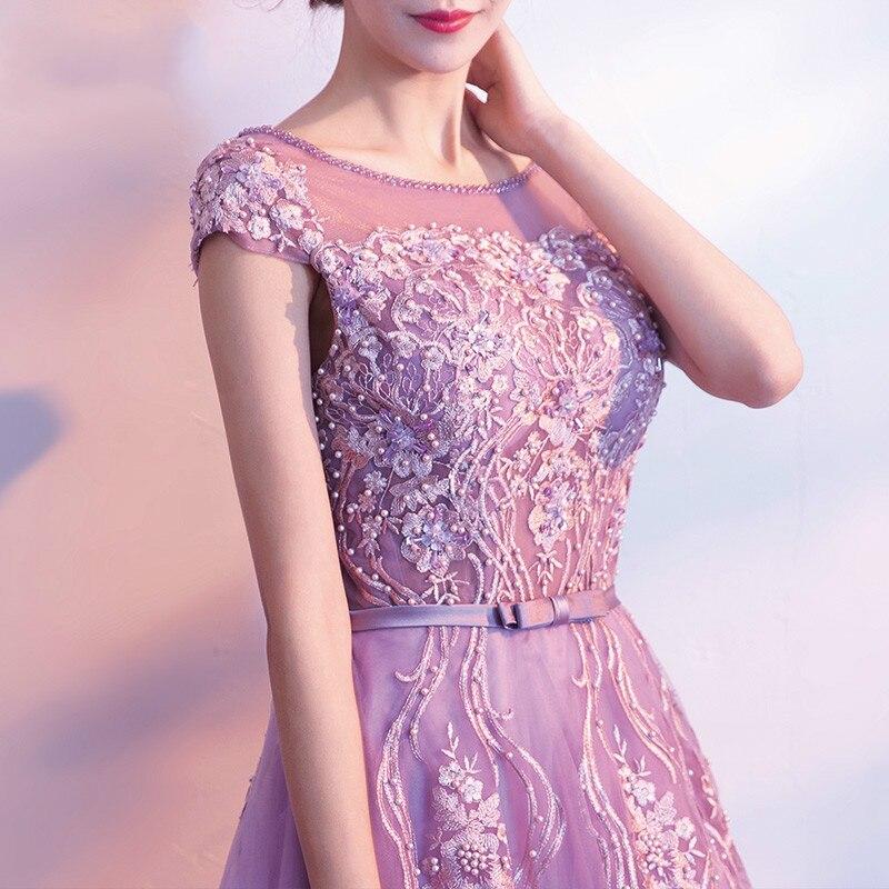 2019 Mode Sexy Tunique Nouvelle Hôte De coréen Section Féminine Annuel Courtes Longue Femmes Partie Robe À Simple Manches Pourpre Nouveau Robes 0xFBPdF