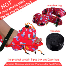 New! Wholesale and Retail foot moxa with 6pcs moxibustion box 2pcs cotton bag gift package chart