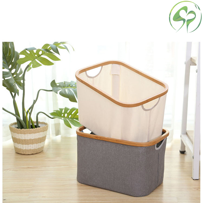 Storage Basket Bamboo Cotton Linen Sundries Organizer Cosmetic Case Toy Storage Barrel Storage Box Cloth Storage Box