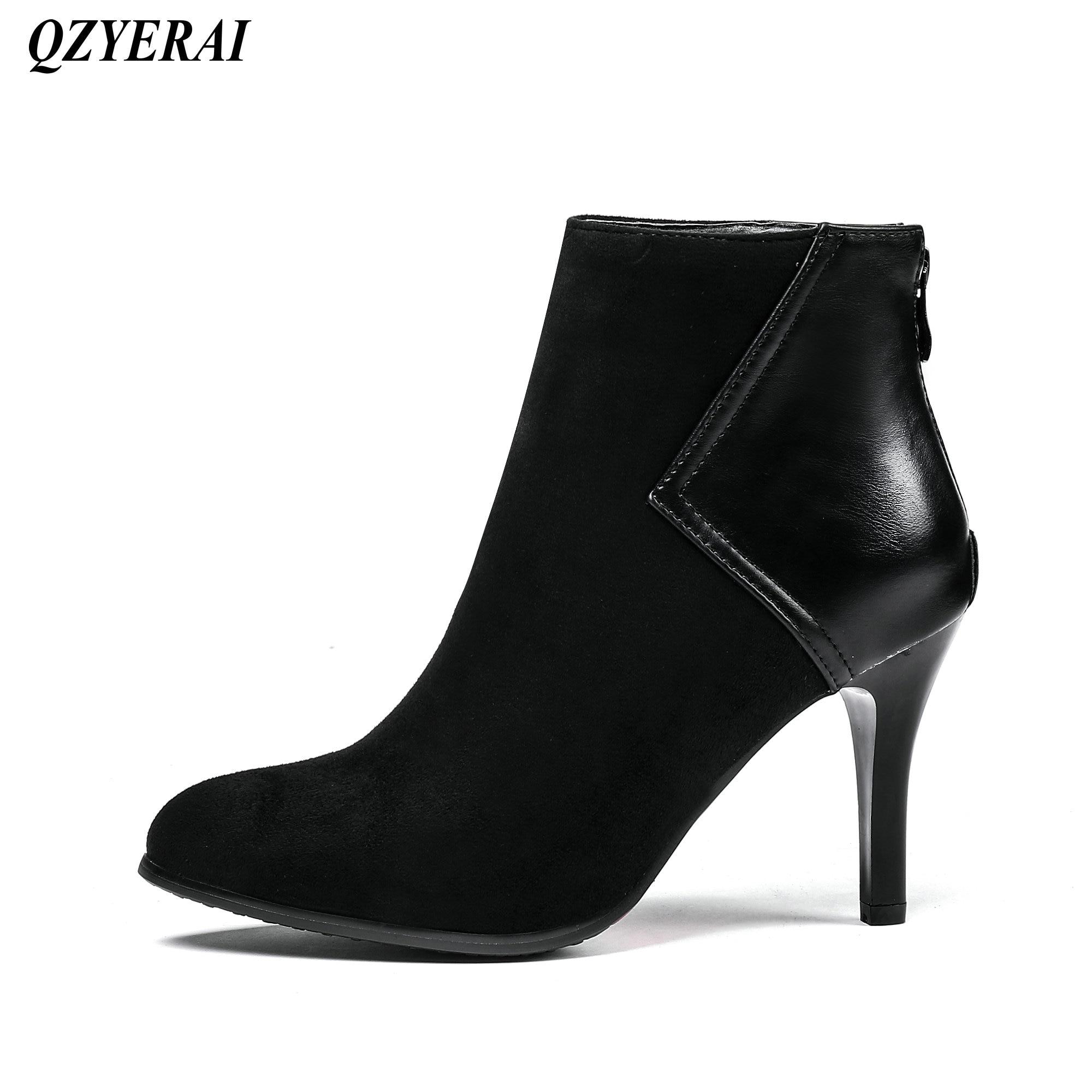 QZYERAI Autumn winter ladies high heels Martin boots font b womens b font boots fashion font