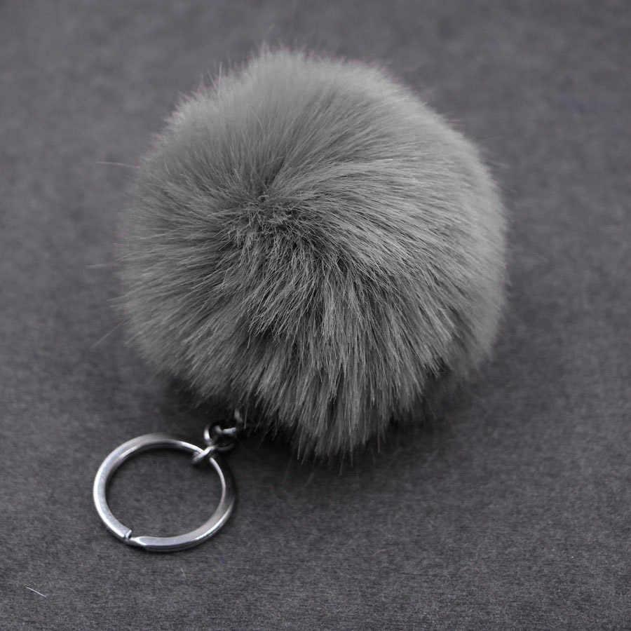 8CM Fluffy Pompon กระต่าย FUR Key CHAIN แหวนผู้หญิง Faux กระต่ายขน Pom Pom พวงกุญแจ Charms กระเป๋า Trinket เครื่องประดับงานแต่งงานของขวัญ