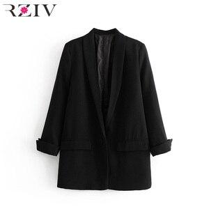 Image 2 - RZIV Женский блейзер, пиджак, пальто, повседневный Одноцветный пиджак на одной пуговице, OL Блейзер, костюм