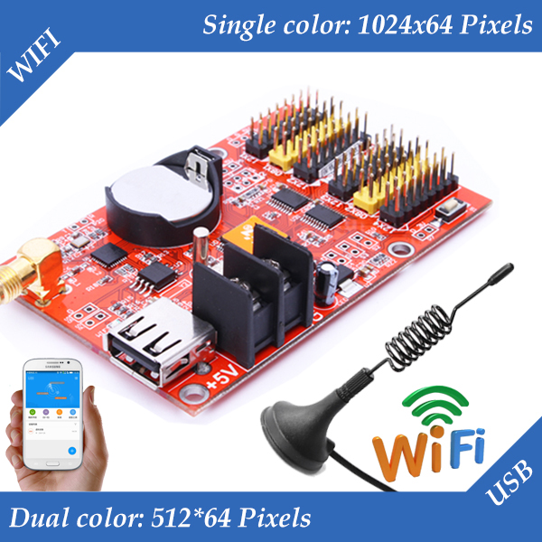 HD-W62 USB+Wifi P10 LED Display Module Control Card, Single&Dual Color Led Control System