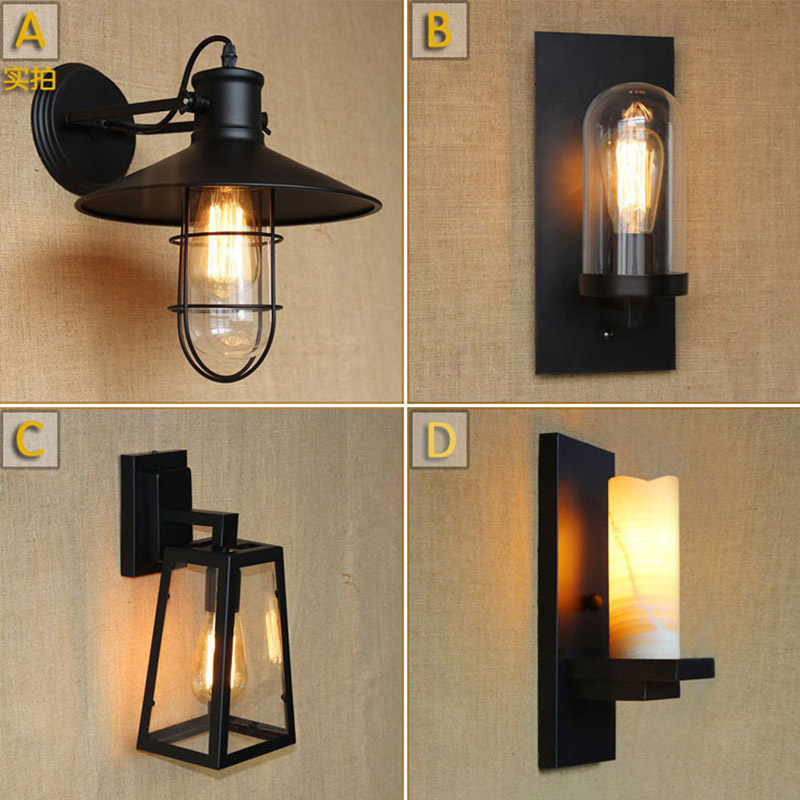 Antique Matte Black Lantern Outdoor Wall Lamp Sconce Ac 90 260v Metal Vintage Industrial Loft