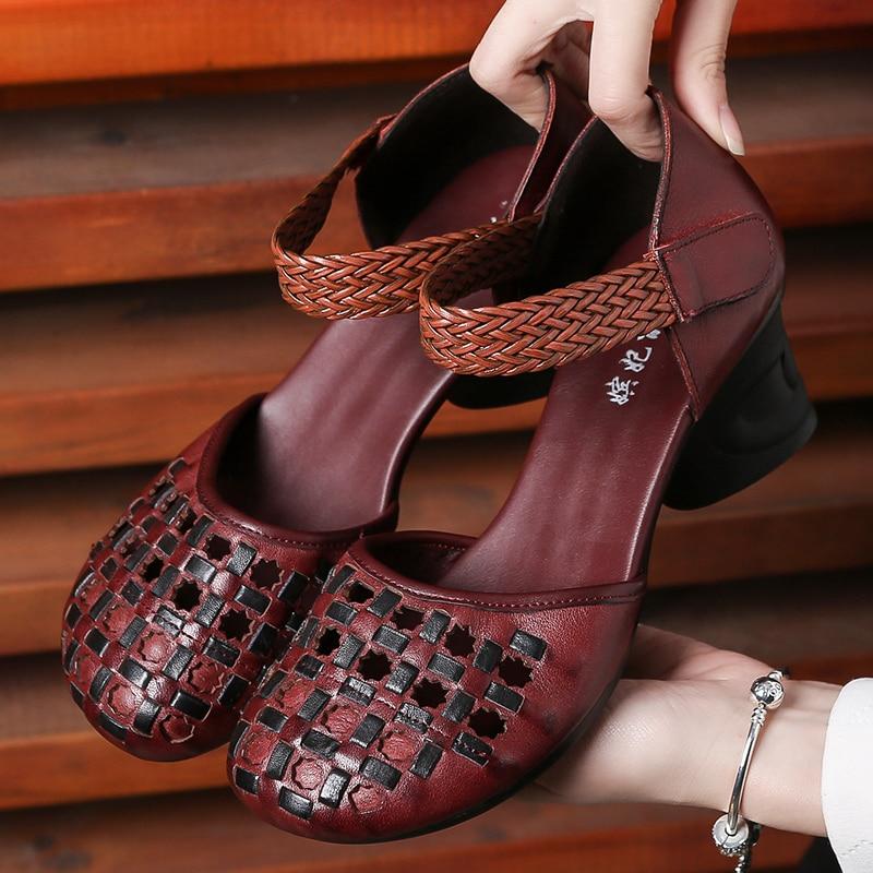 ผู้หญิงรองเท้าแตะรองเท้าแตะ 2019 Retro รองเท้าฤดูร้อนเย็บปักถักร้อย 6 เซนติเมตรรองเท้าส้นสูงรองเท้าแตะผู้หญิง Hollow Out รองเท้าผู้หญิงราคาถูก Handmade-ใน รองเท้าส้นสูง จาก รองเท้า บน   1