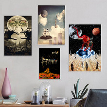 Psychedelic Art Collage Moon Surreal Poster Prints Oil Painting On Canvas Wall Murals Pictures For Living Room Decoration