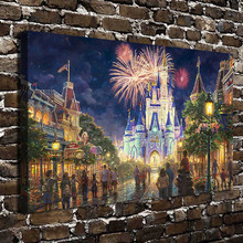 H1393 Thomas Kinkade Fireworks Castle Scenery .HD Canvas Print Home decoration Living Room bedroom Wall pictures Art painting