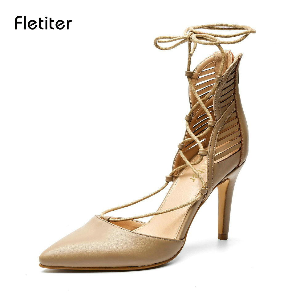 Fletiter New Women Cross-Tied Sandals Elegant High Heels Shoes Lace-Up Summer Stilettos Ladies Ankle Strap Pumps Size 35-41 size 4 9 summer black women shoes elegant white flower high heels shoes cross women pumps zapatos mujer check foot length