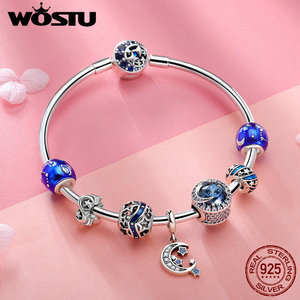 Image 5 - WOSTU אותנטי 925 כסף סטרלינג ירח וכוכבים כחול שמיים קסם צמיד לנשים מקורי תכשיטים מאהב מתנה CQB080