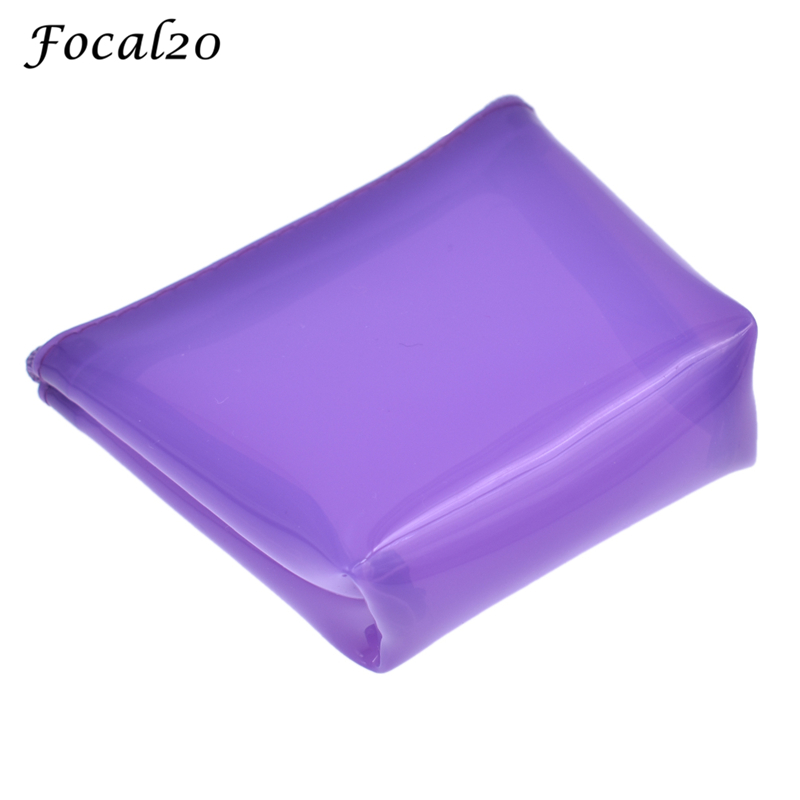 Focal20 Silicone Solid Color Transparent Women Mini Coin Purse Candy Color Zero Wallet Handy Cute Small Bag Change Key Holder