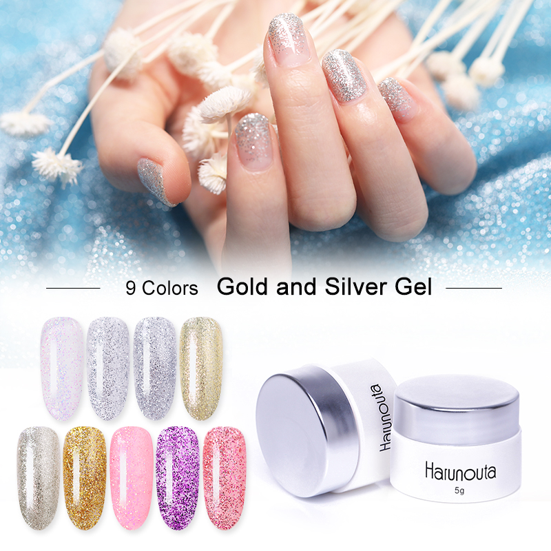 Harunouta 5g Gold Silver Nail Gel Polish Shimmer Glitter Soak Off UV Gel Platium Holographic Nail Varnish Manicure Design