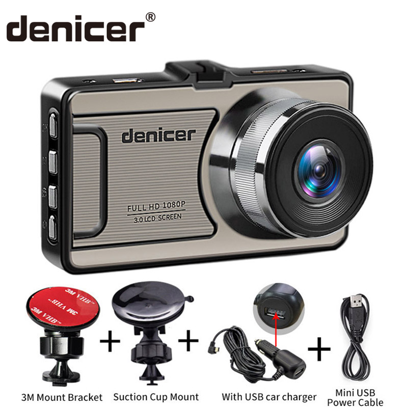 Denicer Full HD 1080P Dash Camera 3.0 Inch Screen With Loop recording/Car Video Recorder DVR with G-sensor/Motion Detection Cam g50 full hd 1080p 5 0mp 170 coms g sensor loop recording car dvr camcorder blcak sliver