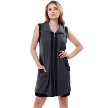 2016 Autumn Winter Women Casual Sleeveless Dresses Turndown collar Splice Zipper Cardigan Lady Short Dress Plus size 5xl 3328